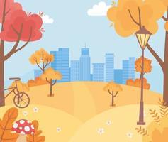 Landschaft im Herbst. Stadtbild, Hügel und Fahrrad