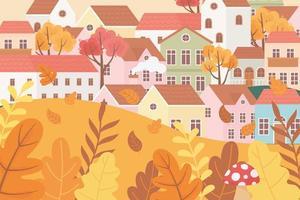 Landschaft im Herbst. Dorfhäuser, Pilze und Blätter