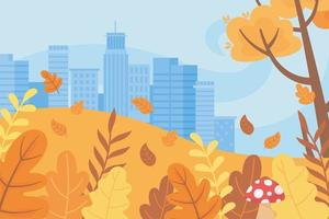 landskap på hösten. stadens stadsbyggnader och träd