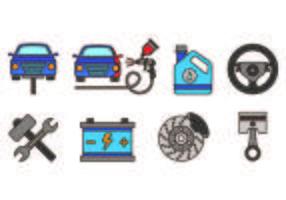 Inställda auto kropps Ikoner vektor