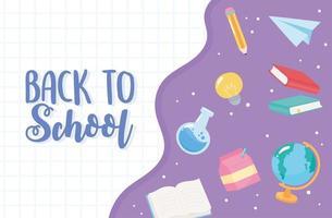 tillbaka till skolan. kemikolv, bok och pappersplan