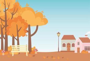 Landschaft im Herbst. Hütten, Bank und Parkbäume
