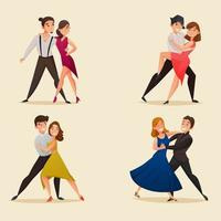 Tanzpaar Retro Cartoon Set vektor