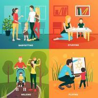 Babysitter Menschen Wohnung 2x2 vektor