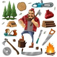 Abholzung Holzfäller Holzfäller vektor
