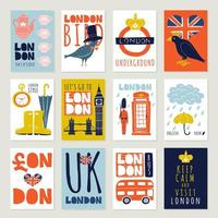 England London Poster Banner Set vektor