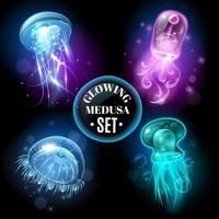 glödande medusa set vektor