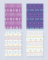 ethnische handgemacht. afrikanische Stammes-Textilhintergründe eingestellt vektor