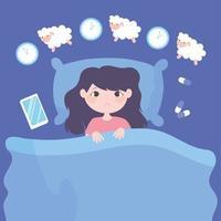 Schlaflosigkeit. trauriges Mädchen auf dem Bett, das Schafe zählt vektor