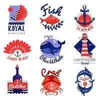 nautiska havet bokstäver emblem set
