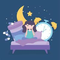 Schlaflosigkeit. Mädchen auf dem Bett mit Medizin und Uhr