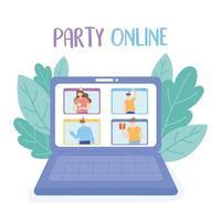 Online-Party. Laptop-Videoanruf mit Menschenfeier