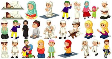 uppsättning av olika muslimska karaktärer på vit bakgrund vektor