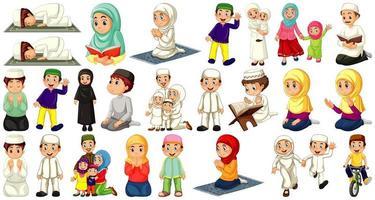 Satz von verschiedenen muslimischen Personencharakter auf weißem Hintergrund vektor