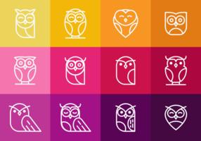 Coruja Owl Umriss Icons vektor