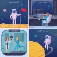 Astronauten Cartoon Menschen 2x2