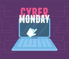 Cyber måndag. klicka på laptop virtuell handel