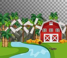 gård med röd ladugård och flodsida på transparent bakgrund