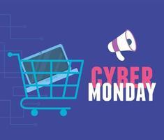 Cyber Montag. Einkaufswagen mit Laptop und Megaphon
