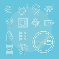 sexuelle Gesundheit. Methoden zur Familienplanung festgelegt vektor