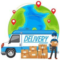 leveransbil eller skåpbil med leveransman i blå uniform
