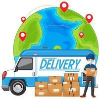 Lieferwagen oder Lieferwagen mit Lieferbote in blauer Uniform