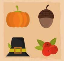 lycklig tacksägelsedag. pumpa, hatt, ekollon och frukt vektor