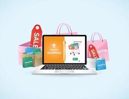 online shoppingkoncept med bärbar dator vektor