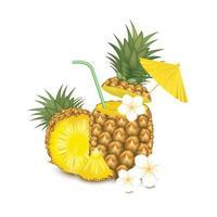 realistischer Ananasfruchtcocktail mit Blumen vektor