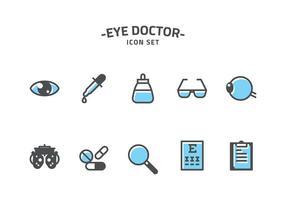 Ögonläkare ikonuppsättning vektor