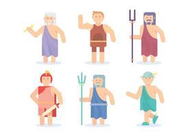 Flat Hercules och grekiska guden vektorer