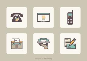 Wohnung Retro Kommunikation Vektor-Icons vektor