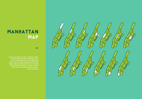 Borough Manhattan Karte Vector