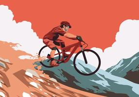 Red Sunset Bike Trail Vector