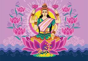 Vektor Illustration av gudinnan Lakshmi
