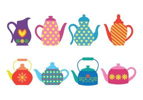 Mönstrade färgglada Teapot Ikoner vektor