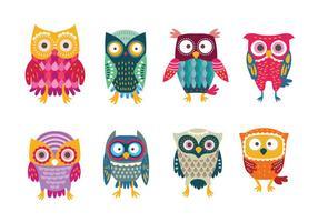 Gulliga & färgrika Stiliserade Buho Owls vektor