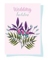 dekorative Grußkarte oder Einladung der Hochzeitsverzierungsblumen vektor