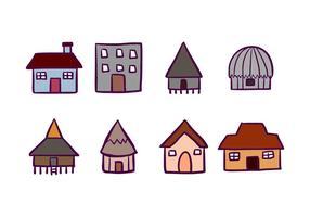 Hus och Cabana ikoner vektor