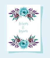 bröllop blommig prydnad gratulationskort eller inbjudan vektor