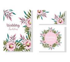bröllop prydnad blommig blom dekorativa gratulationskort vektor
