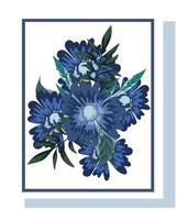 blaues Blumenarrangement für Grußkarte