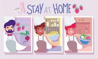 Satz Männerkoch in der Küche