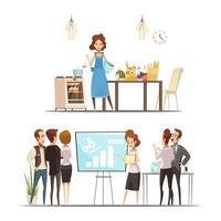 tecknad kvinna som arbetar