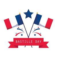 Fahnen, Stern und Band des glücklichen Bastille-Tages