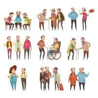 uppsättning äldre män som pratar