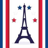 Eiffeltornet med stjärnor av den lyckliga bastildagen