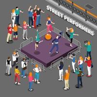 Straßenkünstler isometrische Menschen Zusammensetzung vektor