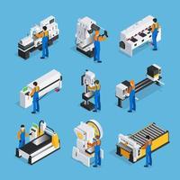 isometrischer Satz von Metallbearbeitungsmaschinen und Personen vektor