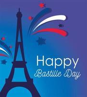 Eiffelturm mit Feuerwerk des glücklichen Bastille-Tages
